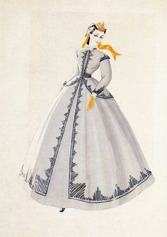 Walter Plunkett - Costume sketch for Gone with the Wind, c. 1939 ... Scarlet's shantytown dress