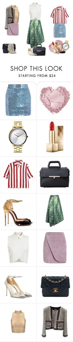 """""""be glam in a different  way"""" by verajf ❤ liked on Polyvore featuring Ashish, Nixon, Burberry, Christian Louboutin, J.W. Anderson, Miss Selfridge, Jimmy Choo, Chanel and CHARLES & KEITH"""