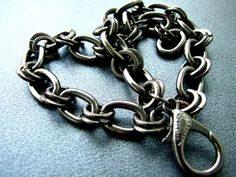 Industrial Bracelet Gunmetal Chain Link Bracelet Double Wrap Unisex Jewelry Chain on Etsy, $20.00