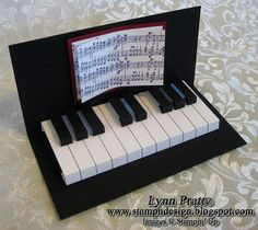 Pop up piano card...cute!  Oh I have to make this for Tim's next birthday card.