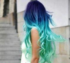 Shatush verde acqua e azzurro