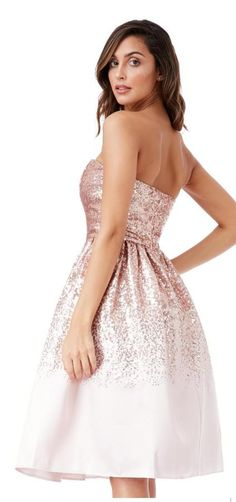 c487fc6d0b Goddiva Nude Sequinned Bandeau Evening Occasion Bridesmaid Party Midi Dress  Bandeau Evening Sequinned