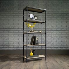 Get the Restoration Hardware look for less! The Sauder Charter Oak Tall Bookcase with Metal Frame is rustic industrial chic with its wood and metal style. 5 open shelves. Light oak and black finishes. Finished on all sides. Sauder Charter Oak Tall Bookcase with Metal Frame | Weekends Only Furniture and Mattress
