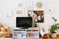 Minted. Art. Galley wall. Art around a tv