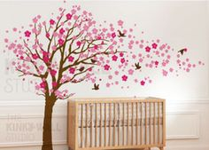 7 Cherry blossom tree with birds - Kids Wall Stickers, Nursery Wall Decals + fun room accessories! - Leafy Dreams Nursery Decals
