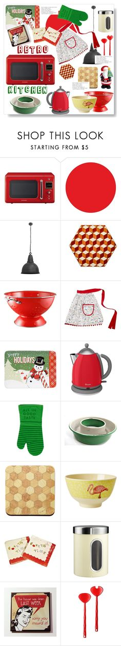 """Retro kitchen"" by gul07 ❤ liked on Polyvore featuring interior, interiors, interior design, home, home decor, interior decorating, Wall Pops!, NuCasa, Reston Lloyd and Crate and Barrel"