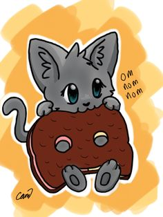 Cat eating a cookie cat by Teal Newt for impossible dreamer