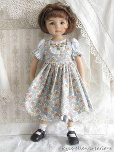 """13"""" Effner Little Darling BJD Blue stripe and floral OOAK handmade set by JEC"""