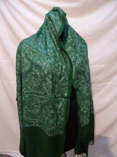 006 Crewel Embroidered Shawl. color Wool  Stole with Kashmir Embroidery. India #ShawlWrap