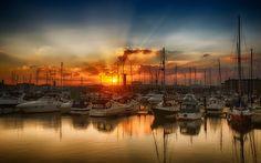 Brilliant sunset over Hartlepool Marina, Hartlepool, UK