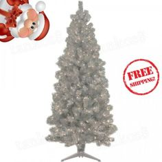Artificial-Christmas-Tree-6-039-Silver-250-Clear-Lights-elebration-Shiny-Pre-lit