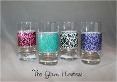 Damask Glam Shot Glasses set of 4 by TheGlamHostess on Etsy, $20.00