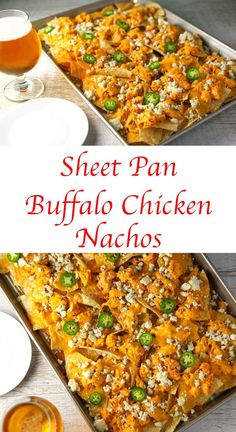 These Sheet Pan Buffalo Chicken Nachos are LOADED with flavor! They will definitely be a hit at your next party! #buffalochickennachos #buffalochicken #chicken #nachos #appetizer #appetizers #gutenfree #gameday