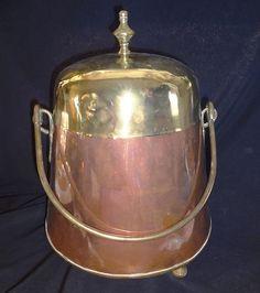 1890's Copper Brass Coal Ash Scuttle HOD Bucket Footed Lidded w Handle | eBay