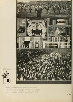 Athena Yearbook, 1935. Photos from the 1934 Homecoming football game and parade.  :: Ohio University Archives