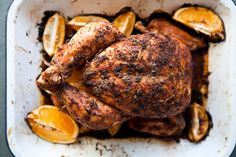 Citrus-Roasted Whole Chicken by Kimberley Hasselbrink:  A roast chicken is so generous in serving: enough to feed a large family, or keep your lunches interesting for a week at work.  #Chicken #Citrus