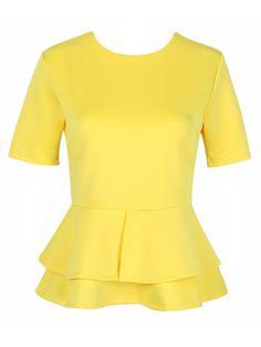 Yellow Peplum Short Sleeve Flounce Hem Blouse   Choies