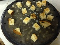 Homemade Croutons: Microwave Chip Maker from Pampered Chef!! Spritz with oil, add seasoning, microwave for 1-2 minutes!! www.pamperedchef.biz/jocelyngomes