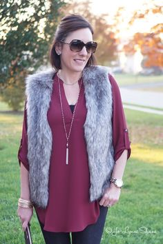 How to Wear a Fur Vest   Fashion Over 40: I'm joining @cyndi_spivey and @alilumbatis to share 3 fun ways to style a faux fur vest! Click through for shopping details. Jo-Lynne Shane