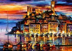 Leonid Afremov An island of a city of blue sky colorful oil painting, art world. The city is reflected on the water. Beautiful oil painting painting oil painting canvas oils