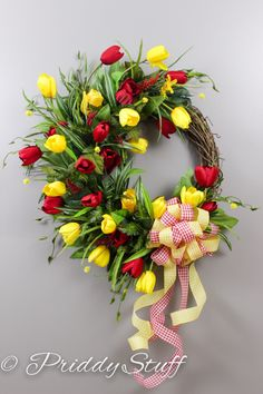 Tulips Spring Summer Wreath  FREE Shipping USA by PriddyStuff, $145.00