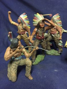 Emil Pfeiffer Pre Elastolin BUFFALO BILL and Indian Figures Wild West Toys Rare…