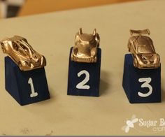 simple trophy idea for the Pinewood Derby - just spraypaint matchbox cars - - details when you click through - - Sugar Bee Crafts: Tips for a FAST Pinewood Derby Car