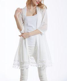 Look what I found on #zulily! White Lace Crochet-Trim Open Cardigan #zulilyfinds