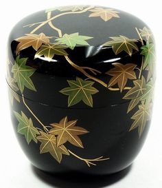 Natsume tea caddy lacquer maple tree Soko Dojo Japan c Dojo, Tea Caddy, Natsume, Tea Container, Japanese Tea Ceremony, Art Japonais, Tea Tins, Tea Box, Chocolate Pots