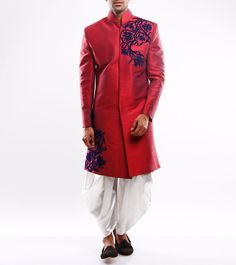 Buy Red Appliqued Dupion Silk Sherwani by Sidharth K Kakkar online in India at best price.This is a red dupion silk indo-western style sherwani with asymmetric velvet applique persian motifs. Mens Indian Wear, Indian Man, Indian Ethnic, Oriental Fashion, Oriental Style, Wedding Sherwani, Dupion Silk, Red Wedding, Vogue