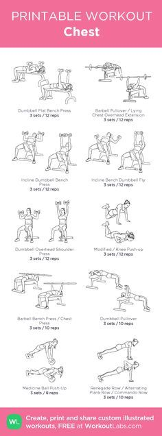 Chest –my custom workout created at WorkoutLabs.com • Click through to download as printable PDF! #customworkout