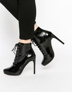 ASOS.  #ankle #laceup #boots #booties #heels #affordable #shoes #black