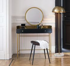Dressing table with 1 drawer made of solid black acacia wood and gold-colored metal Maisons du Monde Couch Table, Table And Chair Sets, Home Office, Home Furnishings, Home Furniture, Table Decorations, Bedroom, Home Decor, Solid Black