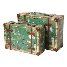 Enhance the look of any space with the Vintage Style European Luggage Suitcase set. These decorative suitcases are great for small storage or for use as accent pieces.