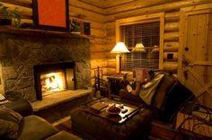 reading near fireplace