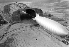 Hindenburg at the U.S. Navy hangar - Lakehurst, New Jersey (1936)