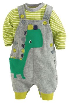 Buy Dino Jersey Dungarees from the Next UK online shop - pounds - large size womens clothing, fashion clothes for women, shopping women's clothing online *ad Baby Outfits, Little Boy Outfits, Toddler Outfits, Kids Outfits, So Cute Baby, Cute Babies, Baby Kids, Baby Baby, Baby Boy Fashion