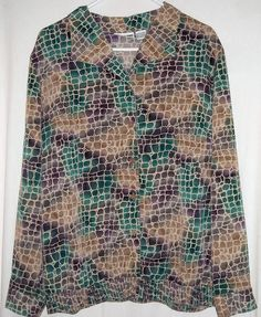 """Teal and Purple Blouse by Alfred Dunner Fits up to 50""""Bust Size 18W $12.00"""
