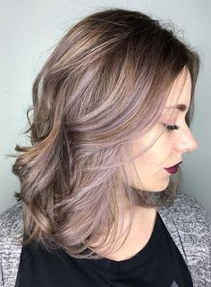 Metallic blonde with lilac strands hair color ideas 2017
