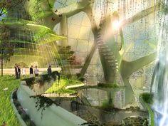 somewhere galatea would go - futuristic botanical gardens Architecture Design, Green Architecture, Futuristic Architecture, Sustainable Architecture, Landscape Architecture, Biophilic Architecture, Urban Agriculture, Urban Farming, Eco City
