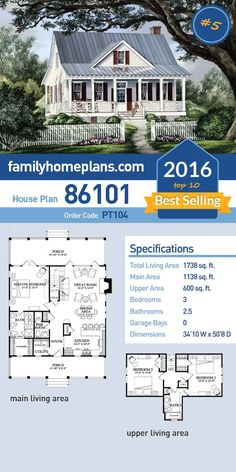 #5 of 2016's Top Ten Best Selling House Plans, Farmhouse Style House Plan 86101 has 1738 SQ FT of living space, 3 bedrooms and 2.5 bathrooms. #topten #bestselling