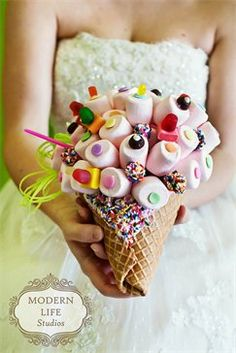 Marshmallow bouquet on waffle cone with chocolate and sprinkles? Sticky!