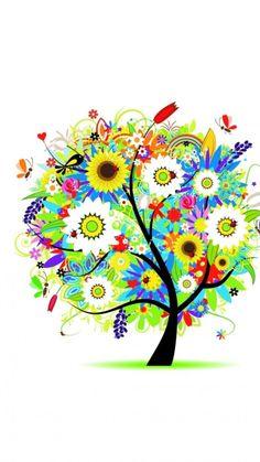 750x1334 vector fondos de pantalla descargar - flores, árboles ...