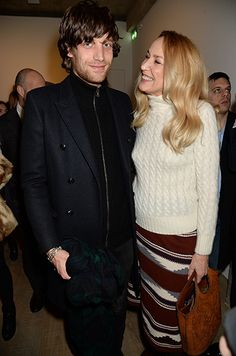 "Jerry Hall and son James Jagger at ""Ron Gorchov: Curated by Vito Schnabel"" private viewing party in London, February 2015."