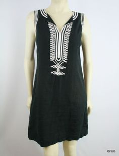 MICHAEL KORS 8 Black White Embroidered Peasant Sheath Dress Sleeveless Zip-Up #MichaelKors #Sheath