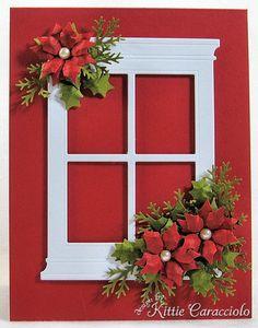 Memory Box Window with Poinsettias