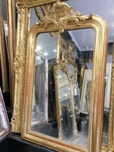ancien grand miroir glace style louis xv noyer massif biseaut rocaille ep 1900 miroirs. Black Bedroom Furniture Sets. Home Design Ideas