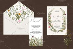 Wedding set. Wild Flowers. Boho by olga.korneeva on @creativemarket