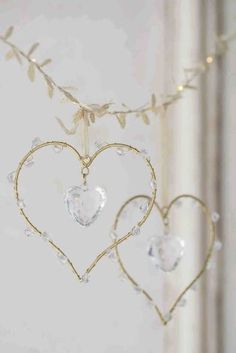 Set Of 2 Heart Decorations