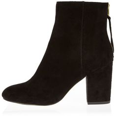 River Island Black block heel ankle boots ($80) ❤ liked on Polyvore featuring shoes, boots, ankle booties, black, short boots, black bootie, black high heel boots, bootie boots and black bootie boots